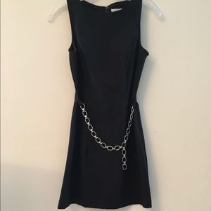 Black dress with attached belt